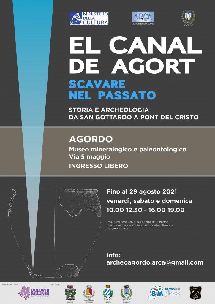 EL CANAL DE AGORT  –  Storia e archeologia da San Gottardo al Pont del Cristo  in Mostra al Museo Mineralogico e Paleontologico di Agordo