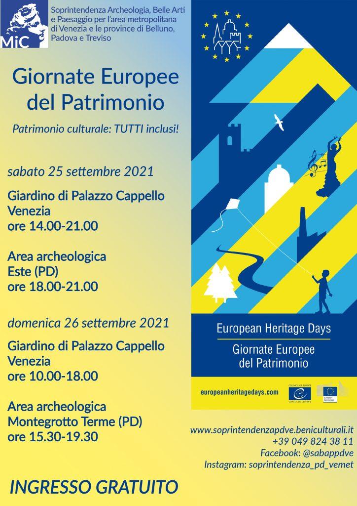 Giornate Europee del Patrimonio 2021: 25 e 26 settembre, aperture straordinarie e visite guidate gratuite