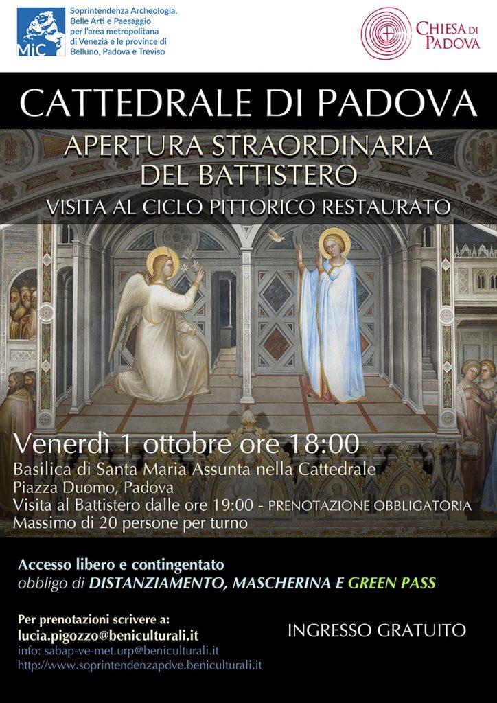 Venerdì 1 ottobre   Apertura straordinaria del Battistero della Cattedrale di Padova e visita al ciclo pittorico restaurato